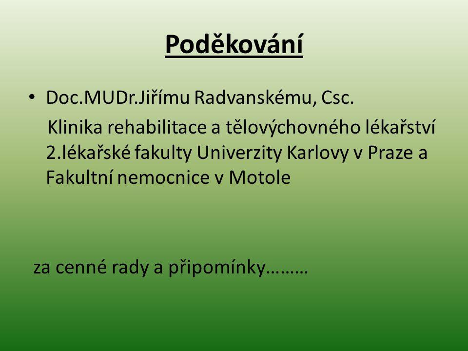 Poděkování Doc.MUDr.Jiřímu Radvanskému, Csc. Klinika rehabilitace a tělovýchovného lékařství 2.lékařské fakulty Univerzity Karlovy v Praze a Fakultní