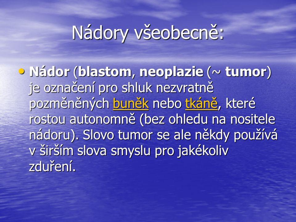 Nádory všeobecně: Nádor (blastom, neoplazie (~ tumor) je označení pro shluk nezvratně pozměněných buněk nebo tkáně, které rostou autonomně (bez ohledu na nositele nádoru).