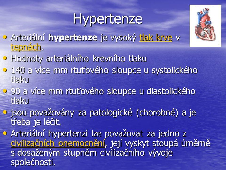 Hypertenze Arteriální hypertenze je vysoký tlak krve v tepnách.
