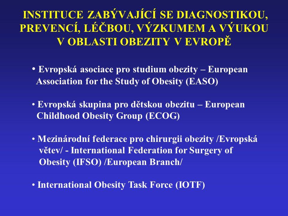 INSTITUCE ZABÝVAJÍCÍ SE DIAGNOSTIKOU, PREVENCÍ, LÉČBOU, VÝZKUMEM A VÝUKOU V OBLASTI OBEZITY V EVROPĚ Evropská asociace pro studium obezity – European