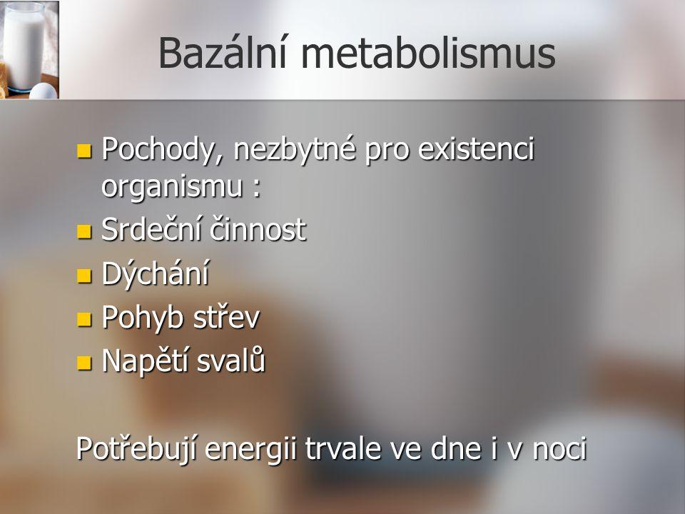 Bazální metabolismus Pochody, nezbytné pro existenci organismu : Pochody, nezbytné pro existenci organismu : Srdeční činnost Srdeční činnost Dýchání Dýchání Pohyb střev Pohyb střev Napětí svalů Napětí svalů Potřebují energii trvale ve dne i v noci