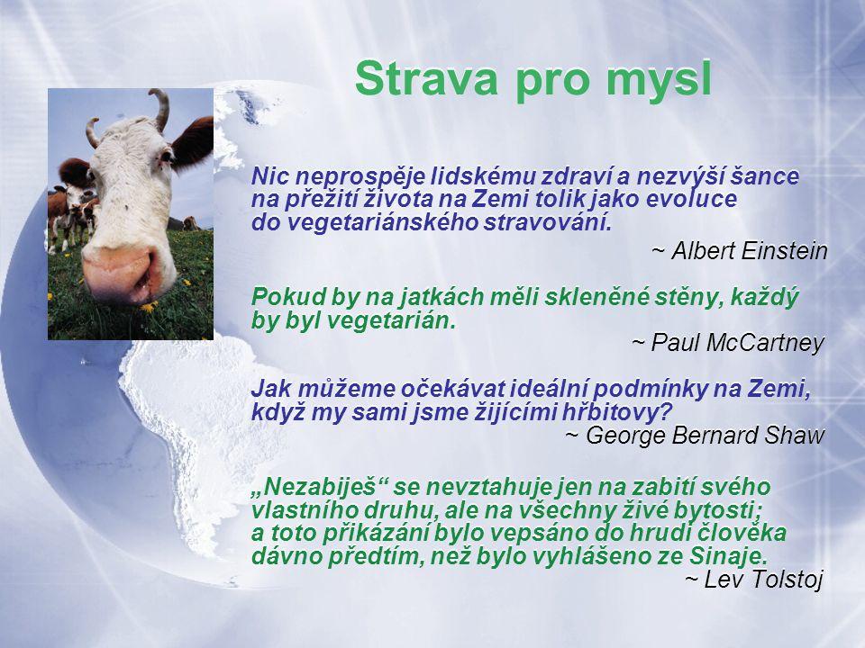 Strava pro mysl Nic neprospěje lidskému zdraví a nezvýší šance na přežití života na Zemi tolik jako evoluce do vegetariánského stravování.