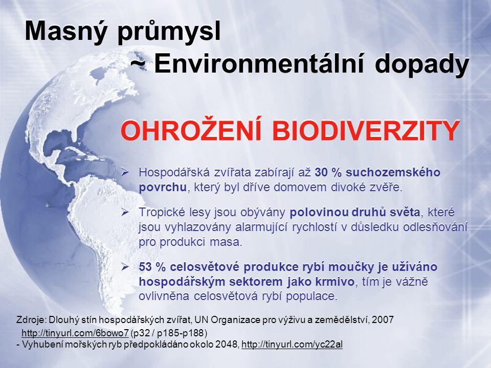 Masný průmysl ~ Environmentální dopady OHROŽENÍ BIODIVERZITY  Hospodářská zvířata zabírají až 30 % suchozemského povrchu, který byl dříve domovem divoké zvěře.