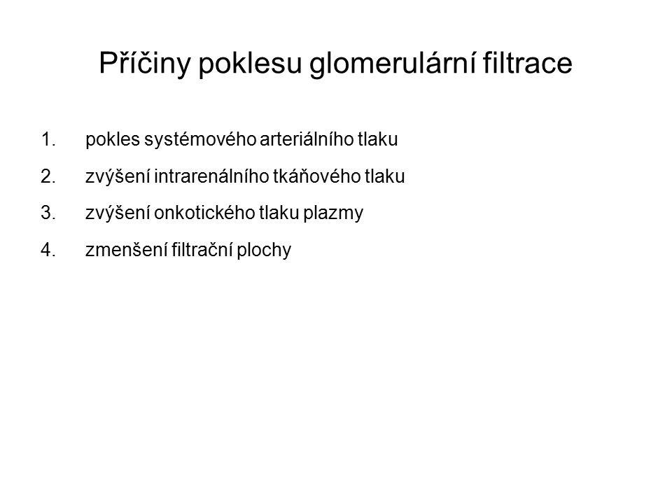 Příčiny poklesu glomerulární filtrace 1.pokles systémového arteriálního tlaku 2.zvýšení intrarenálního tkáňového tlaku 3.zvýšení onkotického tlaku plazmy 4.zmenšení filtrační plochy