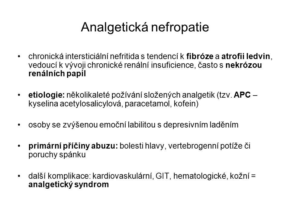 Analgetická nefropatie chronická intersticiální nefritida s tendencí k fibróze a atrofii ledvin, vedoucí k vývoji chronické renální insuficience, často s nekrózou renálních papil etiologie: několikaleté požívání složených analgetik (tzv.