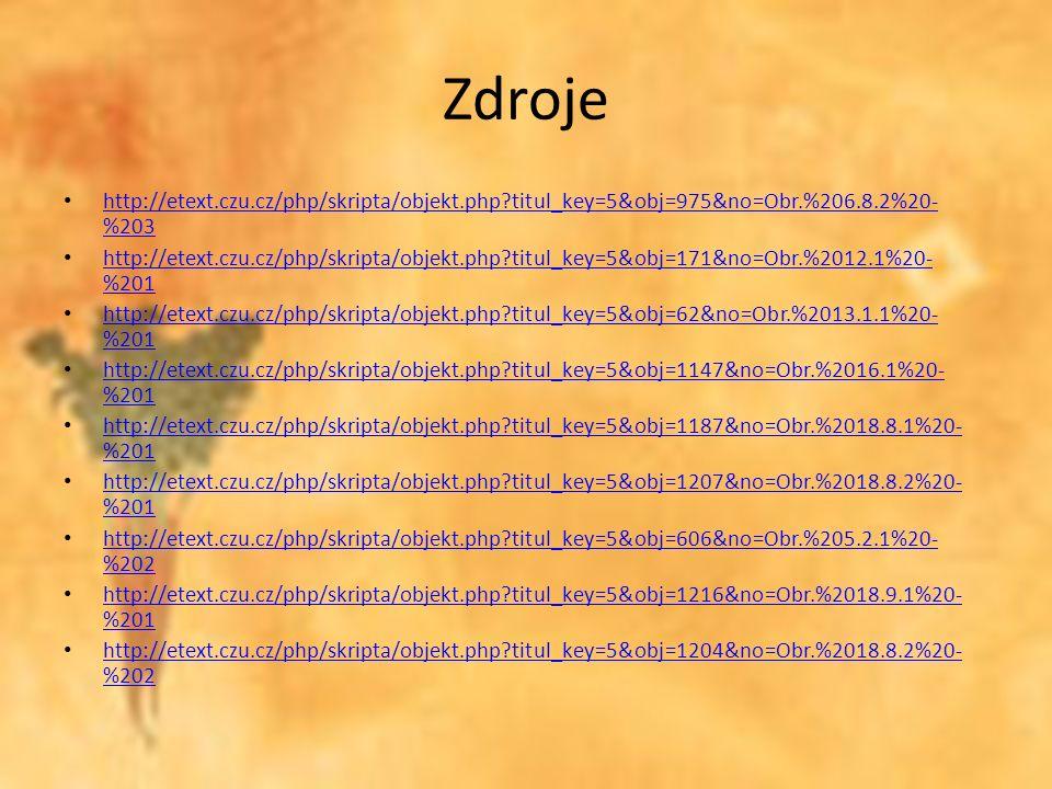Zdroje http://etext.czu.cz/php/skripta/objekt.php titul_key=5&obj=975&no=Obr.%206.8.2%20- %203 http://etext.czu.cz/php/skripta/objekt.php titul_key=5&obj=975&no=Obr.%206.8.2%20- %203 http://etext.czu.cz/php/skripta/objekt.php titul_key=5&obj=171&no=Obr.%2012.1%20- %201 http://etext.czu.cz/php/skripta/objekt.php titul_key=5&obj=171&no=Obr.%2012.1%20- %201 http://etext.czu.cz/php/skripta/objekt.php titul_key=5&obj=62&no=Obr.%2013.1.1%20- %201 http://etext.czu.cz/php/skripta/objekt.php titul_key=5&obj=62&no=Obr.%2013.1.1%20- %201 http://etext.czu.cz/php/skripta/objekt.php titul_key=5&obj=1147&no=Obr.%2016.1%20- %201 http://etext.czu.cz/php/skripta/objekt.php titul_key=5&obj=1147&no=Obr.%2016.1%20- %201 http://etext.czu.cz/php/skripta/objekt.php titul_key=5&obj=1187&no=Obr.%2018.8.1%20- %201 http://etext.czu.cz/php/skripta/objekt.php titul_key=5&obj=1187&no=Obr.%2018.8.1%20- %201 http://etext.czu.cz/php/skripta/objekt.php titul_key=5&obj=1207&no=Obr.%2018.8.2%20- %201 http://etext.czu.cz/php/skripta/objekt.php titul_key=5&obj=1207&no=Obr.%2018.8.2%20- %201 http://etext.czu.cz/php/skripta/objekt.php titul_key=5&obj=606&no=Obr.%205.2.1%20- %202 http://etext.czu.cz/php/skripta/objekt.php titul_key=5&obj=606&no=Obr.%205.2.1%20- %202 http://etext.czu.cz/php/skripta/objekt.php titul_key=5&obj=1216&no=Obr.%2018.9.1%20- %201 http://etext.czu.cz/php/skripta/objekt.php titul_key=5&obj=1216&no=Obr.%2018.9.1%20- %201 http://etext.czu.cz/php/skripta/objekt.php titul_key=5&obj=1204&no=Obr.%2018.8.2%20- %202 http://etext.czu.cz/php/skripta/objekt.php titul_key=5&obj=1204&no=Obr.%2018.8.2%20- %202