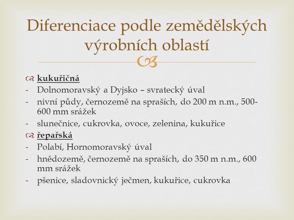   kukuřičná -Dolnomoravský a Dyjsko – svratecký úval -nivní půdy, černozemě na spraších, do 200 m n.m., 500- 600 mm srážek -slunečnice, cukrovka, ovoce, zelenina, kukuřice  řepařská -Polabí, Hornomoravský úval -hnědozemě, černozemě na spraších, do 350 m n.m., 600 mm srážek -pšenice, sladovnický ječmen, kukuřice, cukrovka Diferenciace podle zemědělských výrobních oblastí