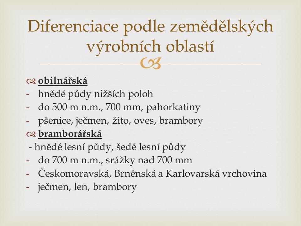   obilnářská -hnědé půdy nižších poloh -do 500 m n.m., 700 mm, pahorkatiny -pšenice, ječmen, žito, oves, brambory  bramborářská - hnědé lesní půdy, šedé lesní půdy -do 700 m n.m., srážky nad 700 mm -Českomoravská, Brněnská a Karlovarská vrchovina -ječmen, len, brambory Diferenciace podle zemědělských výrobních oblastí