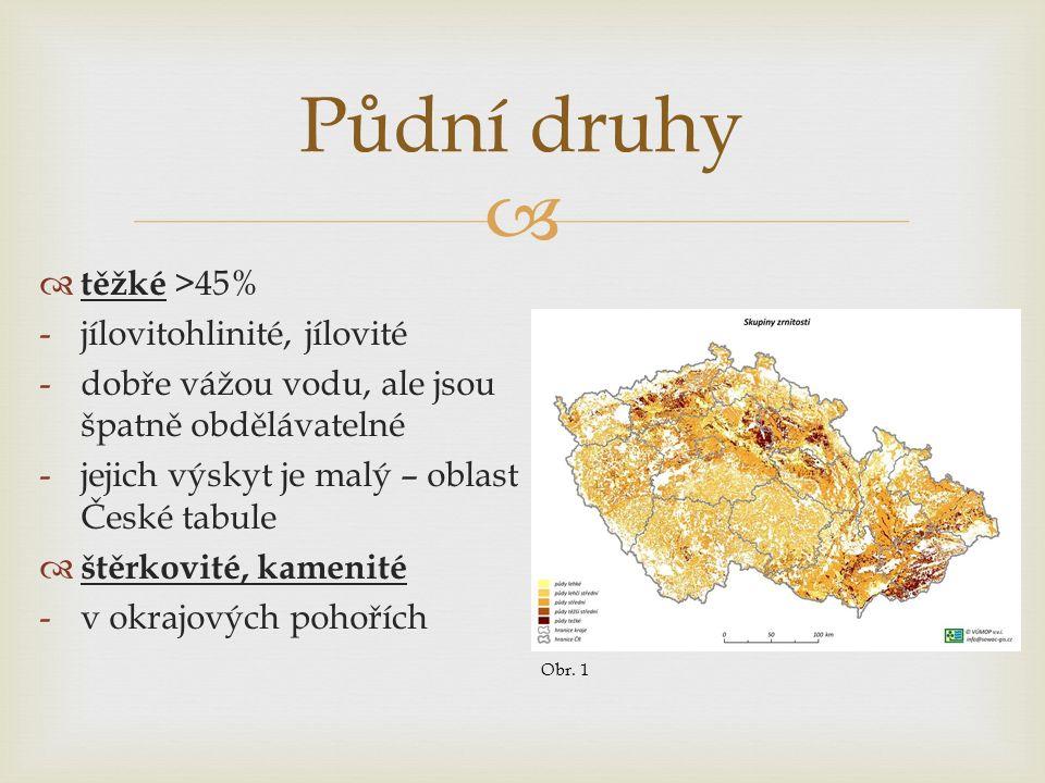   těžké >45% -jílovitohlinité, jílovité -dobře vážou vodu, ale jsou špatně obdělávatelné -jejich výskyt je malý – oblast České tabule  štěrkovité, kamenité -v okrajových pohořích Půdní druhy Obr.