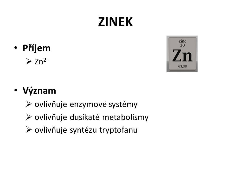 ZINEK Příjem  Zn 2+ Význam  ovlivňuje enzymové systémy  ovlivňuje dusíkaté metabolismy  ovlivňuje syntézu tryptofanu