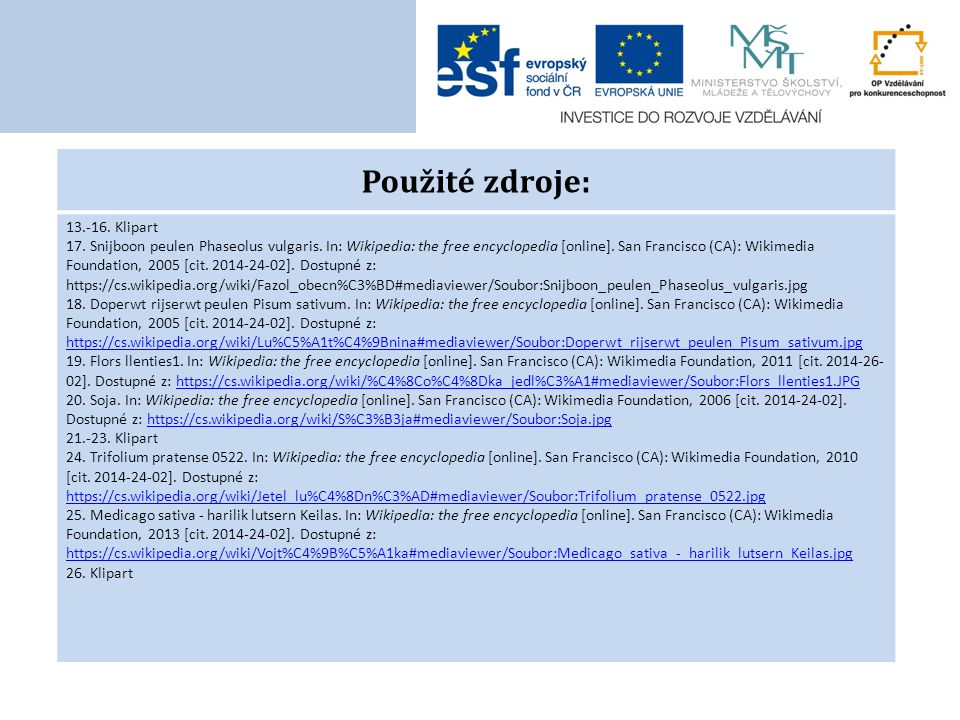 Použité zdroje: 13.-16. Klipart 17. Snijboon peulen Phaseolus vulgaris. In: Wikipedia: the free encyclopedia [online]. San Francisco (CA): Wikimedia F