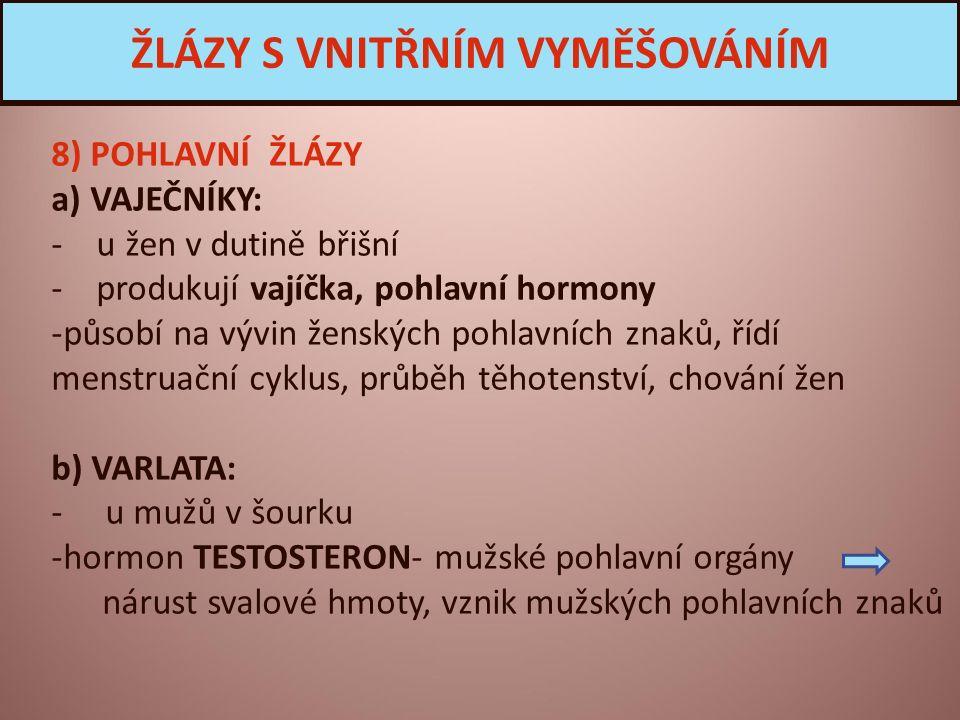 8) POHLAVNÍ ŽLÁZY a) VAJEČNÍKY: - u žen v dutině břišní - produkují vajíčka, pohlavní hormony -působí na vývin ženských pohlavních znaků, řídí menstruační cyklus, průběh těhotenství, chování žen b) VARLATA: - u mužů v šourku -hormon TESTOSTERON- mužské pohlavní orgány nárust svalové hmoty, vznik mužských pohlavních znaků ŽLÁZY S VNITŘNÍM VYMĚŠOVÁNÍM