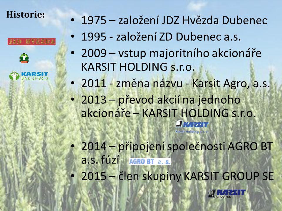 Historie: 1975 – založení JDZ Hvězda Dubenec 1995 - založení ZD Dubenec a.s. 2009 – vstup majoritního akcionáře KARSIT HOLDING s.r.o. 2011 - změna náz