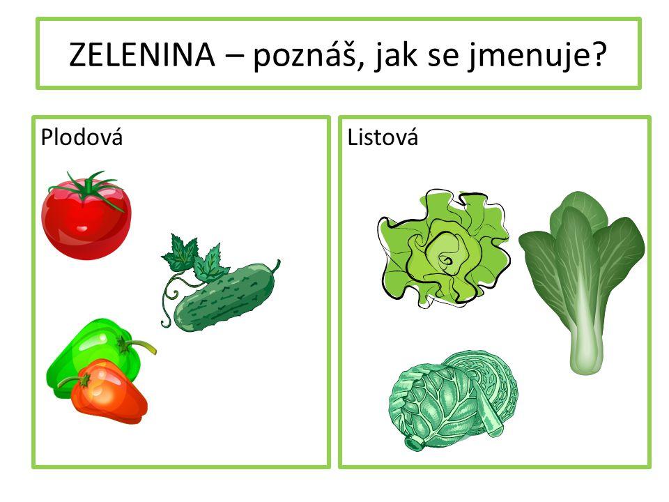 ZELENINA – poznáš, jak se jmenuje PlodováListová