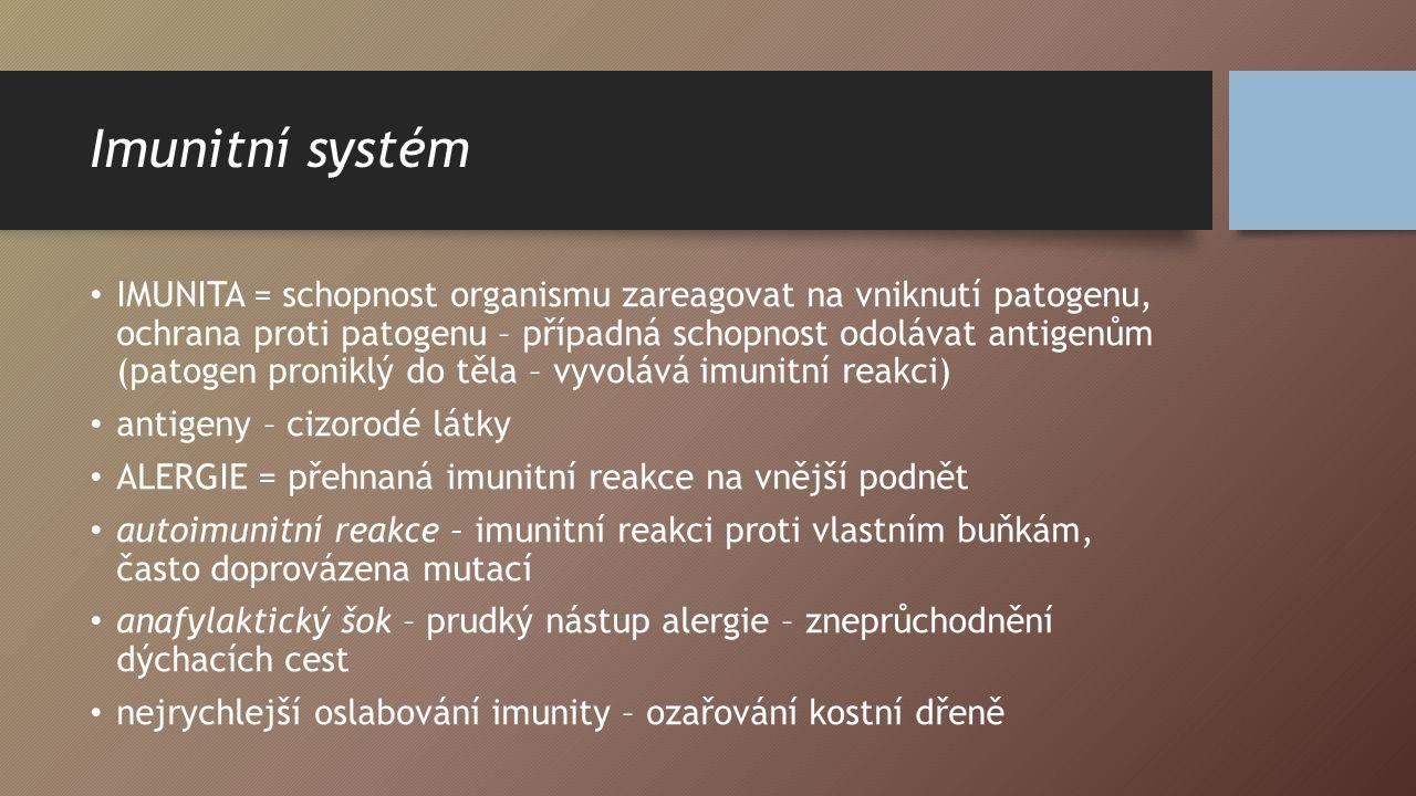 Imunitní systém IMUNITA = schopnost organismu zareagovat na vniknutí patogenu, ochrana proti patogenu – případná schopnost odolávat antigenům (patogen proniklý do těla – vyvolává imunitní reakci) antigeny – cizorodé látky ALERGIE = přehnaná imunitní reakce na vnější podnět autoimunitní reakce – imunitní reakci proti vlastním buňkám, často doprovázena mutací anafylaktický šok – prudký nástup alergie – zneprůchodnění dýchacích cest nejrychlejší oslabování imunity – ozařování kostní dřeně