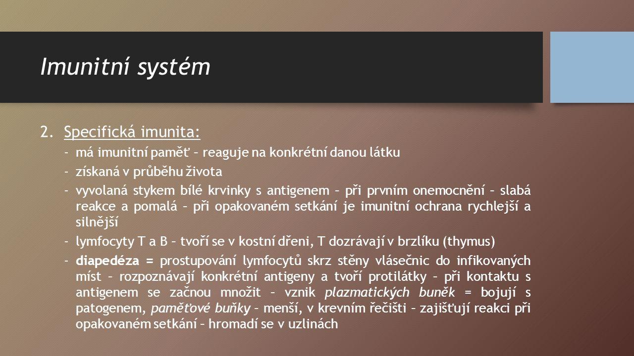 Imunitní systém 2.Specifická imunita: -má imunitní paměť – reaguje na konkrétní danou látku -získaná v průběhu života -vyvolaná stykem bílé krvinky s