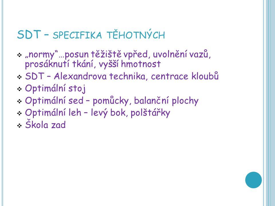 """SDT – SPECIFIKA TĚHOTNÝCH  """"normy …posun těžiště vpřed, uvolnění vazů, prosáknutí tkání, vyšší hmotnost  SDT – Alexandrova technika, centrace kloubů  Optimální stoj  Optimální sed – pomůcky, balanční plochy  Optimální leh – levý bok, polštářky  Škola zad"""