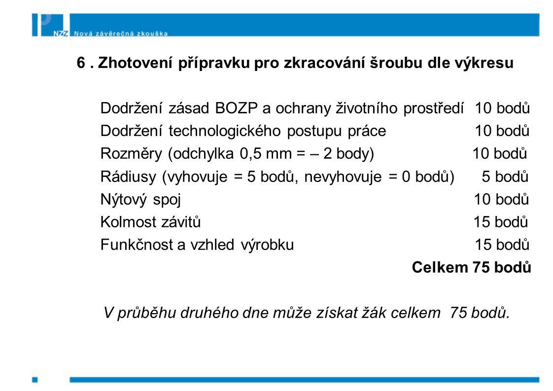 6. Zhotovení přípravku pro zkracování šroubu dle výkresu Dodržení zásad BOZP a ochrany životního prostředí 10 bodů Dodržení technologického postupu pr