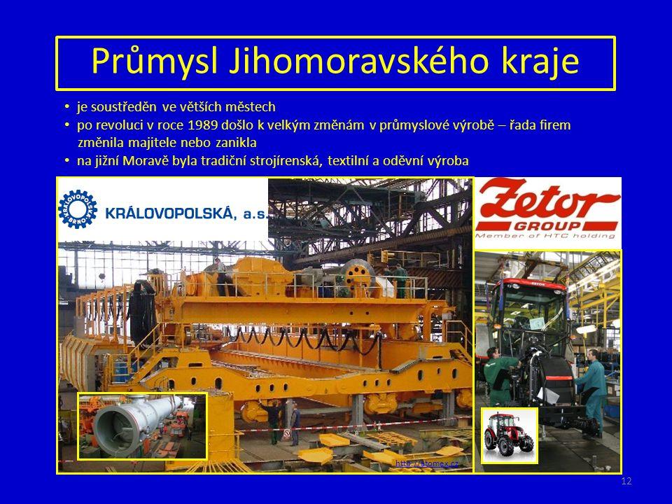 Průmysl Jihomoravského kraje je soustředěn ve větších městech po revoluci v roce 1989 došlo k velkým změnám v průmyslové výrobě – řada firem změnila majitele nebo zanikla na jižní Moravě byla tradiční strojírenská, textilní a oděvní výroba http://atomex.cz 12