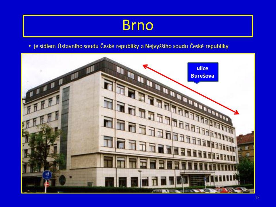 Brno je sídlem Ústavního soudu České republiky a Nejvyššího soudu České republiky http://www.novinky.cz http://www.ident.cz http://aktualne.centrum.cz http://metropolitan.brno.cz ulice Joštova ulice Česká ulice Burešova 15