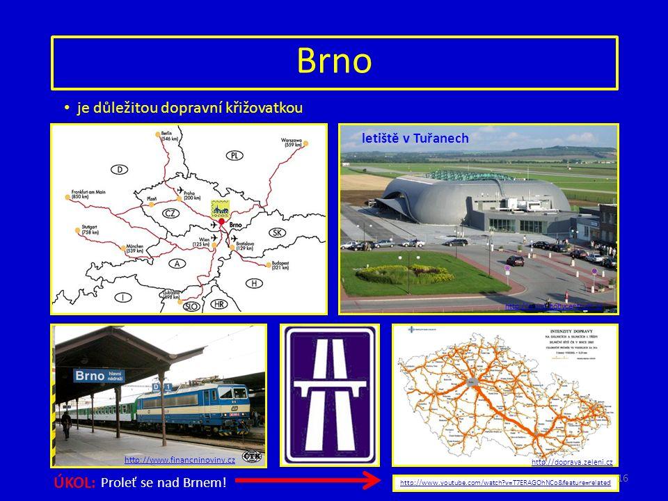 Brno je důležitou dopravní křižovatkou letiště v Tuřanech http://www.bobycentrum.cz http://www.financninoviny.cz http://doprava.zeleni.cz http://www.youtube.com/watch v=T7ERAGOhNCo&feature=related ÚKOL: Proleť se nad Brnem.