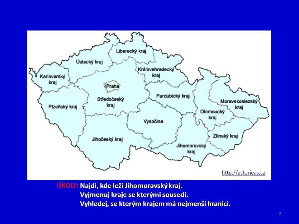 http://astorieas.cz ÚKOLY: Najdi, kde leží Jihomoravský kraj. Vyjmenuj kraje se kterými sousedí. Vyhledej, se kterým krajem má nejmenší hranici. 2