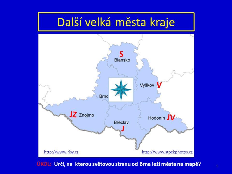 Další velká města kraje ÚKOL: Urči, na kterou světovou stranu od Brna leží města na mapě? S V JV J JZ http://www.stockphotos.czhttp://www.risy.cz 5