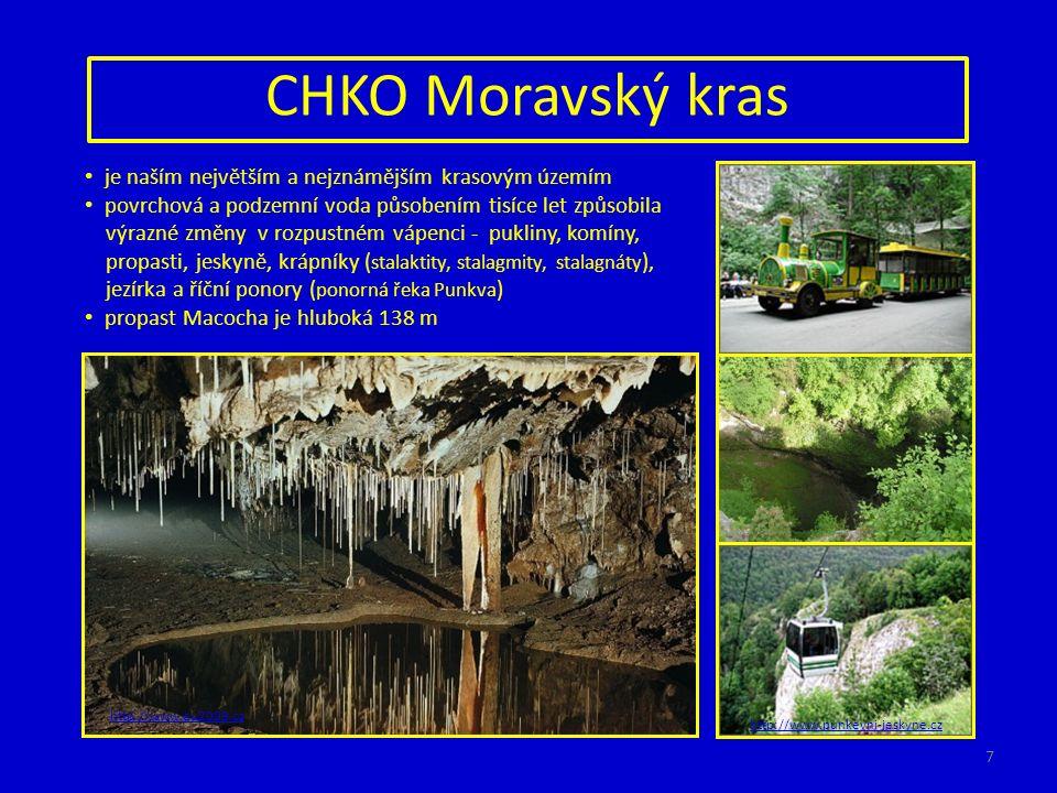 CHKO Moravský kras http://www.eu2009.cz http://www.punkevni-jeskyne.cz je naším největším a nejznámějším krasovým územím povrchová a podzemní voda působením tisíce let způsobila výrazné změny v rozpustném vápenci - pukliny, komíny, propasti, jeskyně, krápníky ( stalaktity, stalagmity, stalagnáty ), jezírka a říční ponory ( ponorná řeka Punkva ) propast Macocha je hluboká 138 m 7