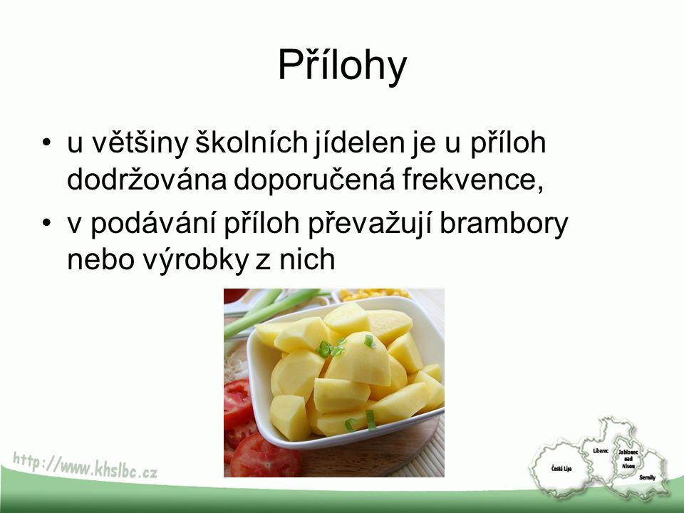 Přílohy u většiny školních jídelen je u příloh dodržována doporučená frekvence, v podávání příloh převažují brambory nebo výrobky z nich