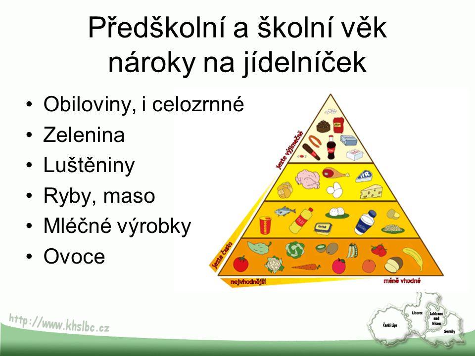 Předškolní a školní věk nároky na jídelníček Obiloviny, i celozrnné Zelenina Luštěniny Ryby, maso Mléčné výrobky Ovoce