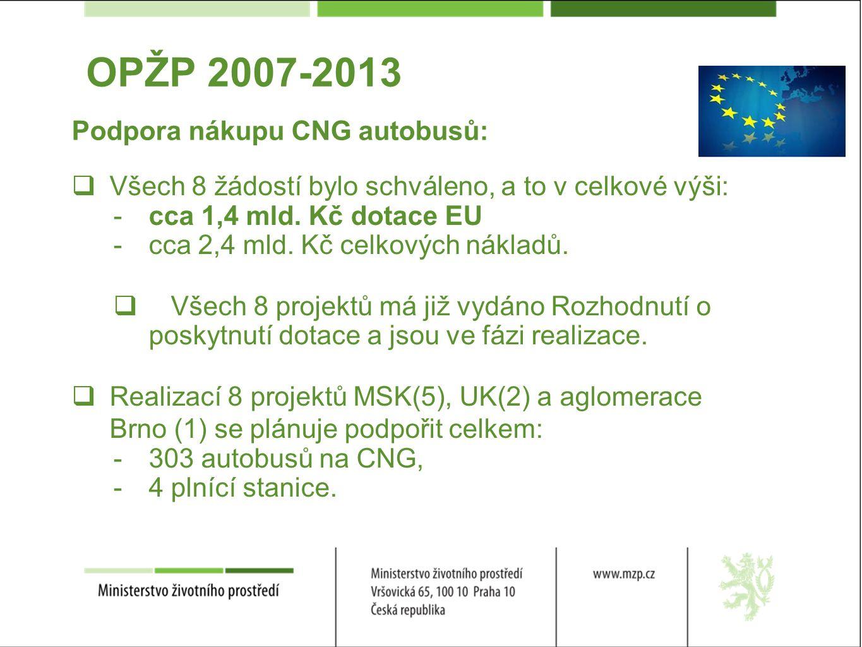 OPŽP 2007-2013  Všech 8 žádostí bylo schváleno, a to v celkové výši: - cca 1,4 mld.