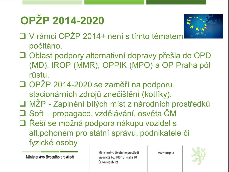 OPŽP 2014-2020  V rámci OPŽP 2014+ není s tímto tématem počítáno.