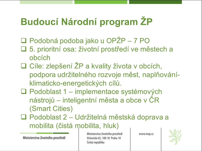 Budoucí Národní program ŽP  Podobná podoba jako u OPŽP – 7 PO  5.