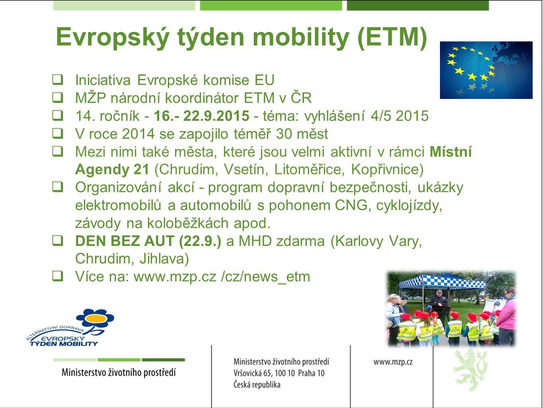 Evropský týden mobility (ETM)  Iniciativa Evropské komise EU  MŽP národní koordinátor ETM v ČR  14.