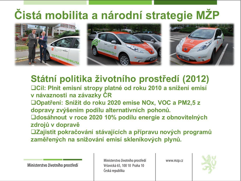 Čistá mobilita a národní strategie MŽP Státní politika životního prostředí (2012)  Cíl: Plnit emisní stropy platné od roku 2010 a snížení emisí v návaznosti na závazky ČR  Opatření: Snížit do roku 2020 emise NOx, VOC a PM2,5 z dopravy zvýšením podílu alternativních pohonů.
