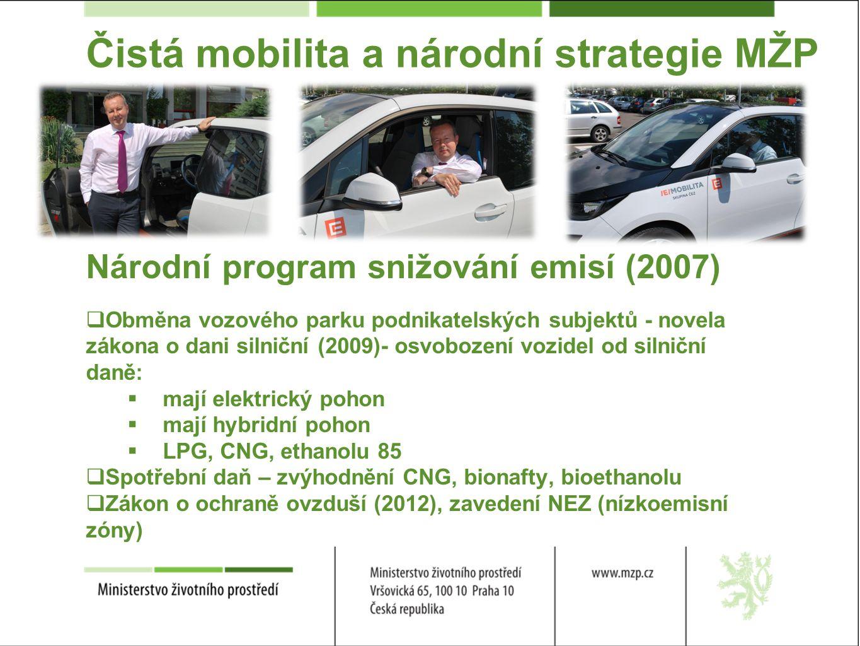 Čistá mobilita a národní strategie MŽP Národní program snižování emisí (2007)  Obměna vozového parku podnikatelských subjektů - novela zákona o dani silniční (2009)- osvobození vozidel od silniční daně:  mají elektrický pohon  mají hybridní pohon  LPG, CNG, ethanolu 85  Spotřební daň – zvýhodnění CNG, bionafty, bioethanolu  Zákon o ochraně ovzduší (2012), zavedení NEZ (nízkoemisní zóny)