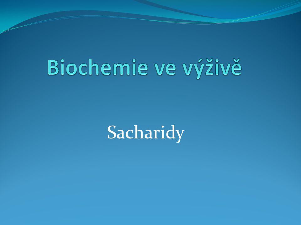 Sacharidy- nebo také glycidy, uhlovodany, karbohydráty Hlavní zdroj energie pro tkáně, především pro svaly a mozek (20% energie z cukrů spotřebují buňky mozku) V jídelníčku by měl tvořit 60 % energetického příjmu 1g sacharidů obsahuje 17 kJ energie (1g proteinu- 17 kJ, 1g tuku- 37 kJ, 1 g alkoholu 29 kJ) Sacharidy dělíme na: 1/ cukry- monosacharidy, disacharidy 2/ oligosacharidy 3/ polysacharidy