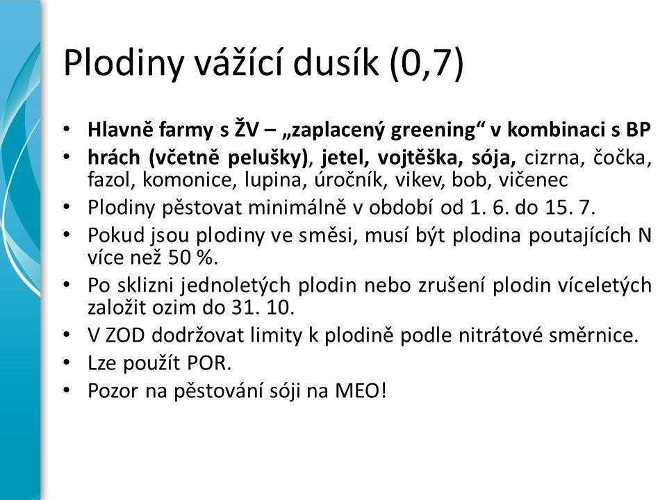"""Plodiny vážící dusík (0,7) Hlavně farmy s ŽV – """"zaplacený greening v kombinaci s BP hrách (včetně pelušky), jetel, vojtěška, sója, cizrna, čočka, fazol, komonice, lupina, úročník, vikev, bob, vičenec Plodiny pěstovat minimálně v období od 1."""
