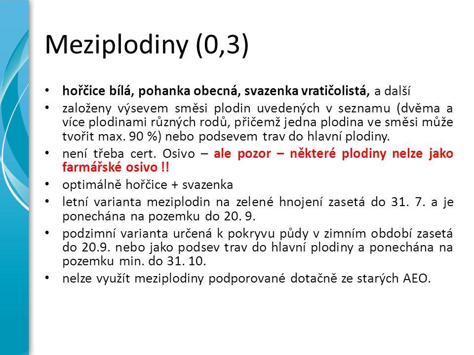 Meziplodiny (0,3) hořčice bílá, pohanka obecná, svazenka vratičolistá, a další založeny výsevem směsi plodin uvedených v seznamu (dvěma a více plodinami různých rodů, přičemž jedna plodina ve směsi může tvořit max.