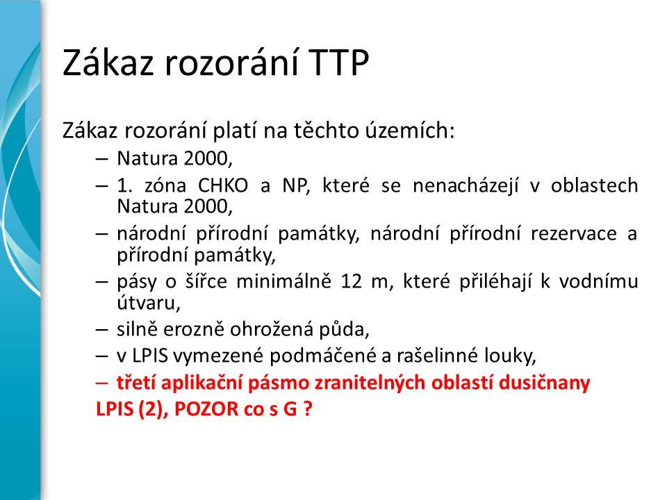Zákaz rozorání TTP Zákaz rozorání platí na těchto územích: – Natura 2000, – 1. zóna CHKO a NP, které se nenacházejí v oblastech Natura 2000, – národní