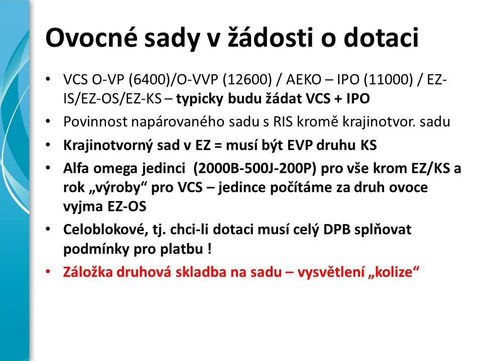Ovocné sady v žádosti o dotaci VCS O-VP (6400)/O-VVP (12600) / AEKO – IPO (11000) / EZ- IS/EZ-OS/EZ-KS – typicky budu žádat VCS + IPO Povinnost napárovaného sadu s RIS kromě krajinotvor.