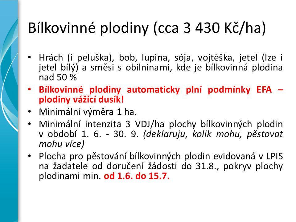 Bílkovinné plodiny (cca 3 430 Kč/ha) Hrách (i peluška), bob, lupina, sója, vojtěška, jetel (lze i jetel bílý) a směsi s obilninami, kde je bílkovinná