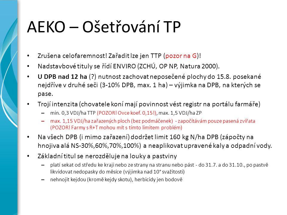 AEKO – Ošetřování TP Zrušena celofaremnost! Zařadit lze jen TTP (pozor na G)! Nadstavbové tituly se řídí ENVIRO (ZCHÚ, OP NP, Natura 2000). U DPB nad