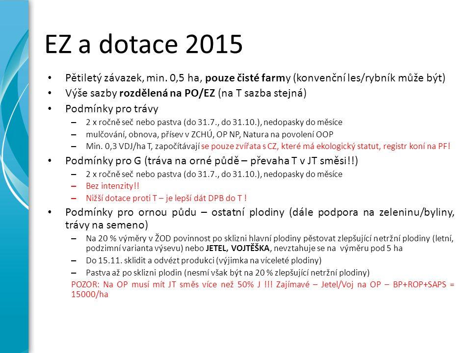EZ a dotace 2015 Pětiletý závazek, min. 0,5 ha, pouze čisté farmy (konvenční les/rybník může být) Výše sazby rozdělená na PO/EZ (na T sazba stejná) Po