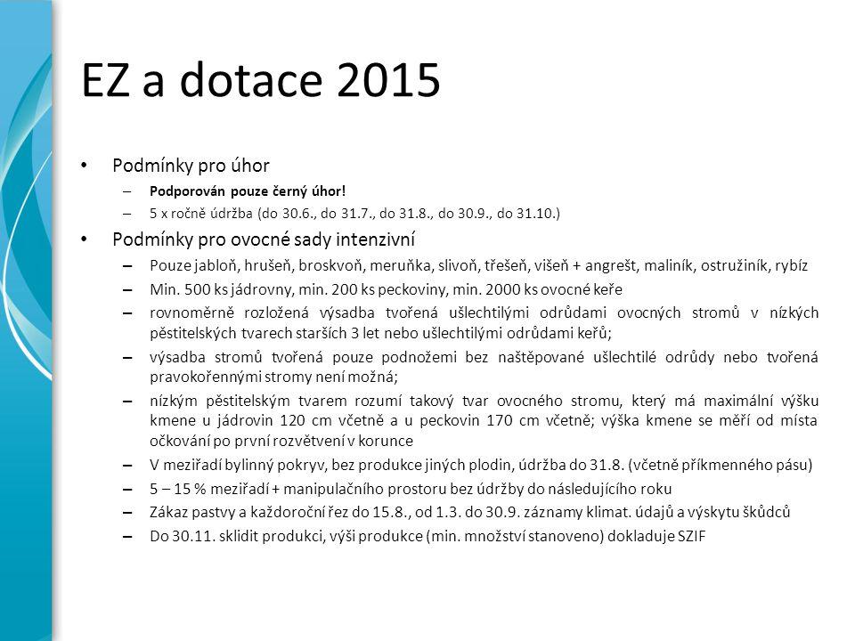 EZ a dotace 2015 Podmínky pro úhor – Podporován pouze černý úhor! – 5 x ročně údržba (do 30.6., do 31.7., do 31.8., do 30.9., do 31.10.) Podmínky pro