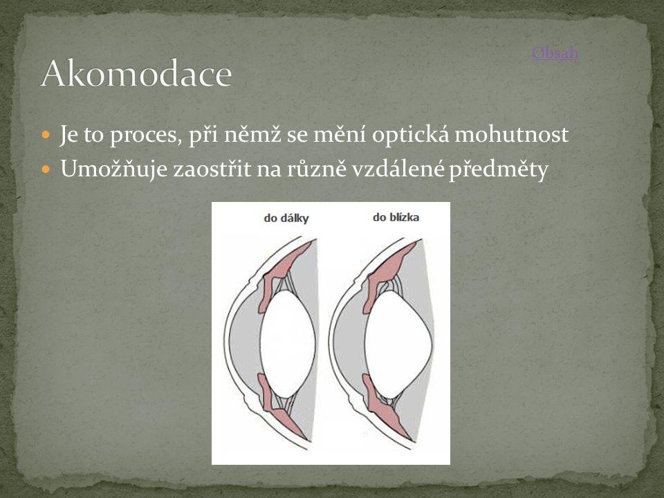 Je to proces, při němž se mění optická mohutnost Umožňuje zaostřit na různě vzdálené předměty Obsah