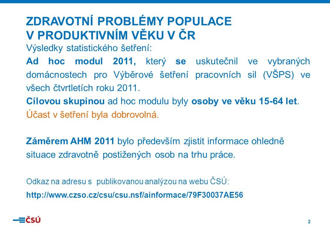 2 Výsledky statistického šetření: Ad hoc modul 2011, který se uskutečnil ve vybraných domácnostech pro Výběrové šetření pracovních sil (VŠPS) ve všech čtvrtletích roku 2011.