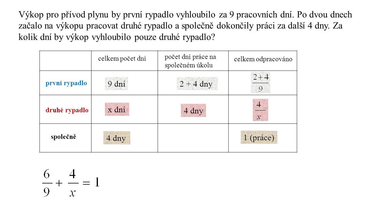 /.9x 6x + 4. 9 = 9x/– 6x 36 = 3x/: 3 12 = x (dní) 1.rypadlo…………….za 9 dní…………….
