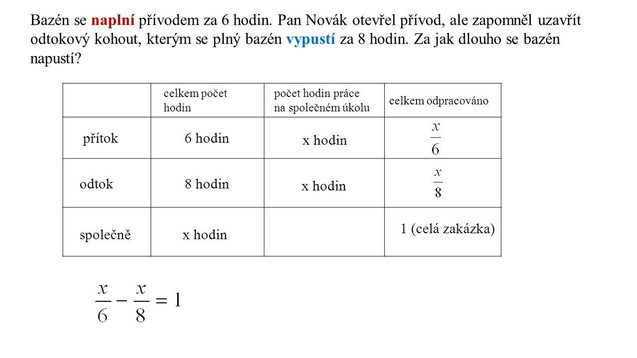 /.24 4x – 3x = 24 x = 24 hodin přítok…………….za 6 hodin…………….