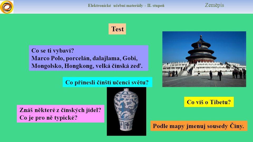 Elektronické učební materiály - II.stupeň Zeměpis Test Co se ti vybaví.